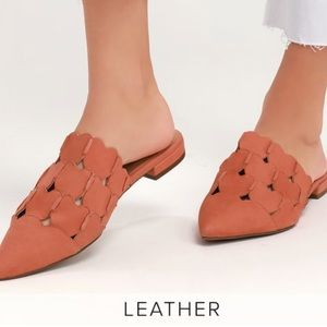 Seychelles Coral Leather Pointed-Toe Mules